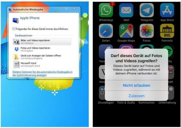 Screenshots der Gerätefreigabe auf iPhone und Windows-PC