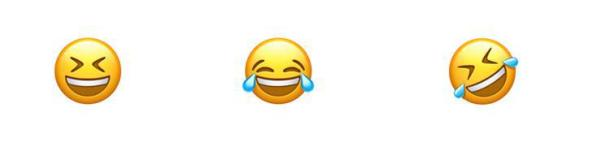 Drei lachende Emojis.