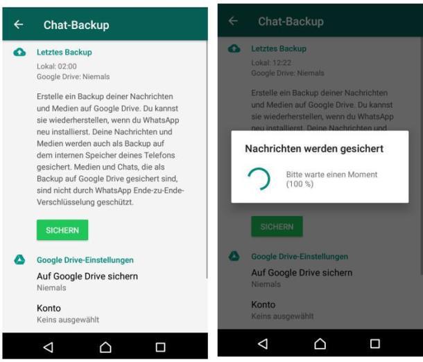 Screenshot der WhatsApp-Backupsicherung auf einem Android-Smartphone.