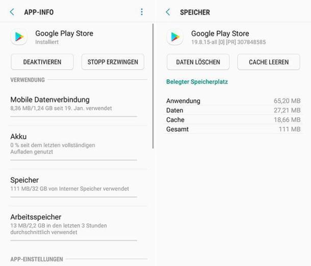 Zwei Screenshots in den Einstellungen in Sachen Play Store