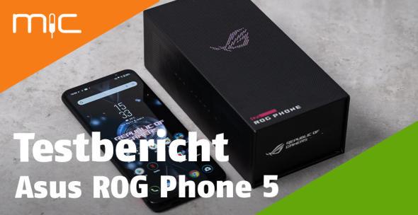 Das Asus ROG Phone 5 ausgepackt neben der Verpackung