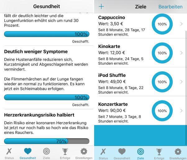 Screenshots der Nichtraucher-App Rauchfrei lite