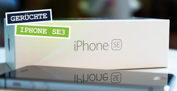 Ein iPhone SE liegt vor der Verpackung.