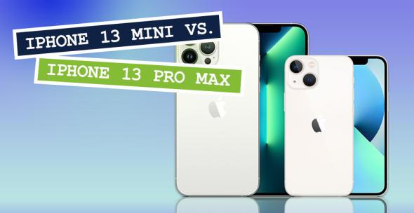 iPhone Pro Max und iPhone Mini nebeneinander mit Vorder- und Rückseite