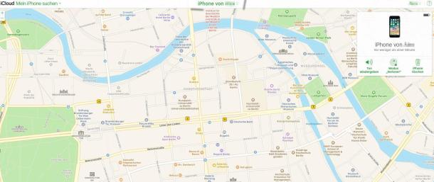 Screenshot der Handy-Ortungsfunktion in der iCloud mit der Karte von Berlin im Hintergrund