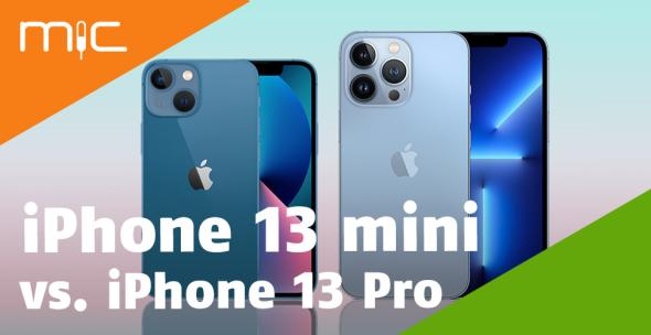 iPhone 13 Mini und iPhone 13 Pro nebeneinander mit Vorder- und Rückseite