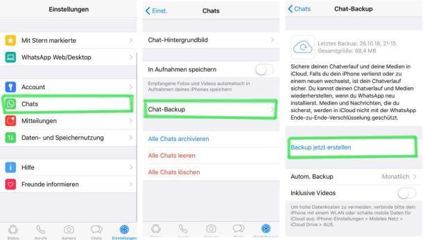 Screenshots, die den Weg zur Backupsicherung und Datenübertragung in WhatsApp zeigen