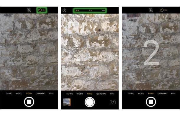 Drei Screenshots aus den Einstellung des iPhone Selbstauslöser in der Kamera App