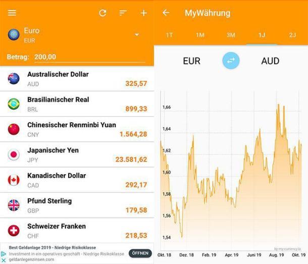 Zwei Screenshots der Währungsrechner App My Währung