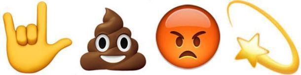 Emojis: Metalhand, Kackhäufchen, schmollendes Gesicht und Sternschnuppe