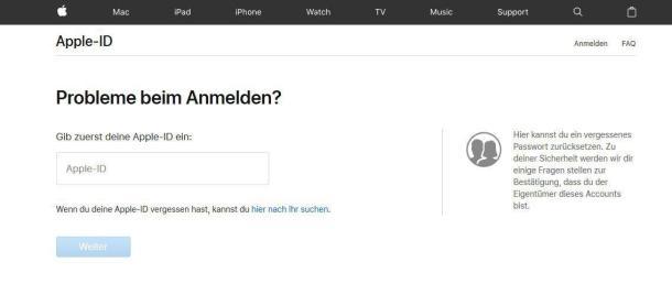 Apple-ID oder Passwort vergessen.