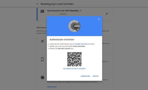 Um den Google Authenticator zu aktivieren, kann man die generierten QR-Code mit dem Handy scannen.