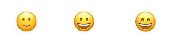 Drei freundliche Emojis.