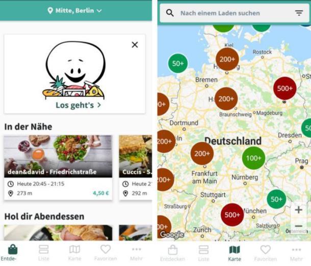 Oberfläche und Karte der App Too Good To Go