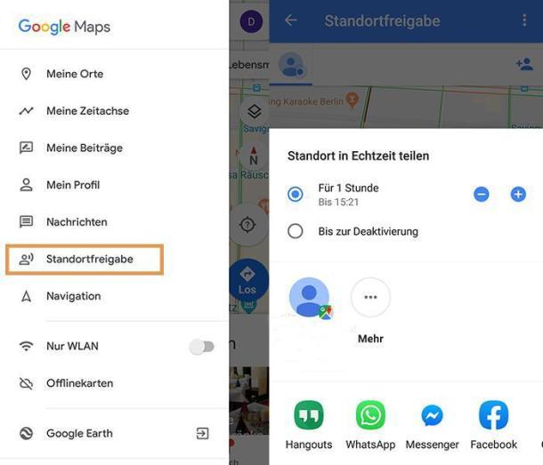 Über Google lässt sich einfach der Standort mit anderen Menschen teilen.