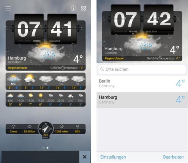 Screenshots der Wetter-App Wetter+