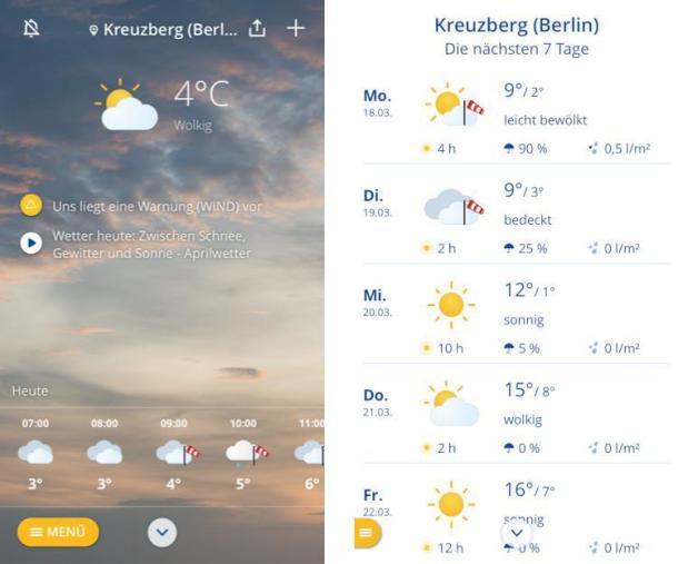 Screenshots der Wetter-App wetter.com