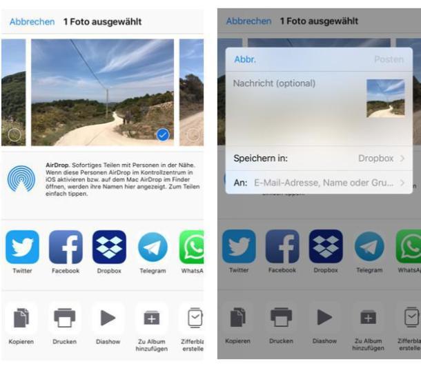 Screenshots der Fotofreigabe auf dem iPhone für Dropbox.