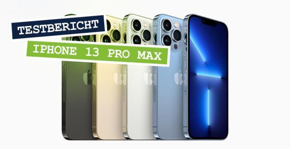 Fünf iPhones 13 Pro Max in unterschiedlichen Farben
