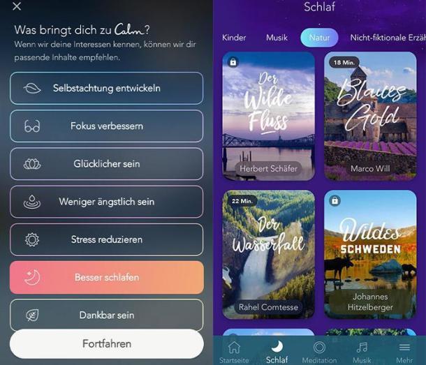 Zwei Screenshots der Schlaf-App Calm.