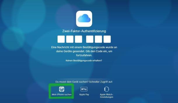 Screenshot: iPhone orten mithilfe von iCloud