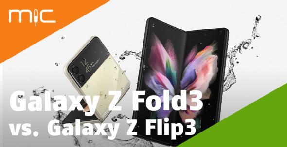 Das Samsung Galaxy Z Fold3 und das Samsung Galaxy Z Flip3 nebeneinander