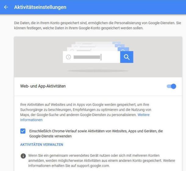 Die Google-Konto-Einstellungen zum Löschen des Browserverlaufs.