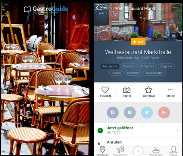 Zwei Screenshots aus der Restaurant-App GastroGuide.