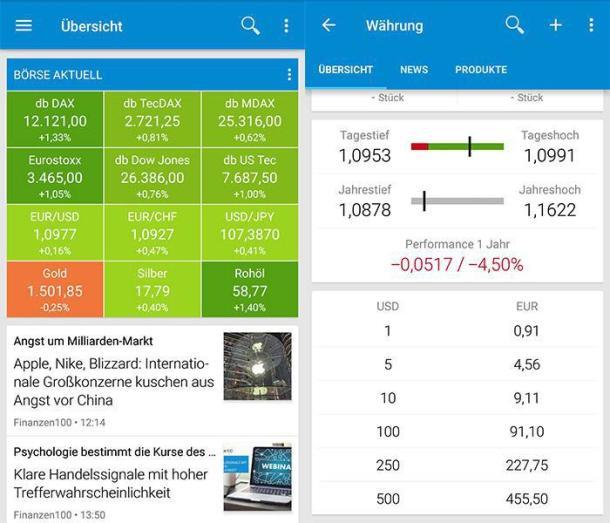Zwei Screenshots der Währungsrechner App Finanzen100