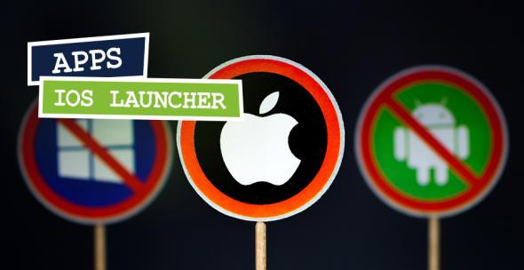 Schild mit Apple Logo und durchgestrichenen anderen Logos