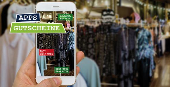 Handyscreen mit AR-Spar Funktion im Laden