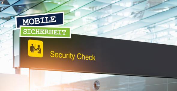 Sicherheitsschild mit Piktorgramm am Flughafen