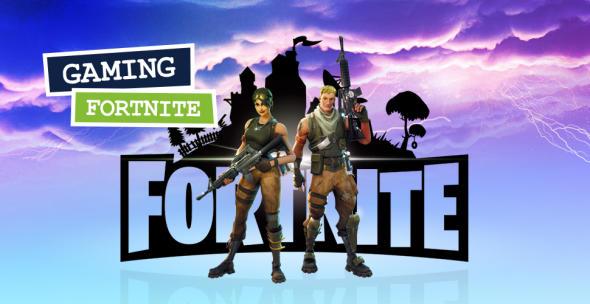 Grafi mit Fortnite-Charakteren mit Waffen vor einem Wolkenhintergrund und Blitzen.