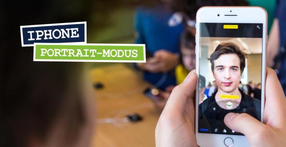 Der iPhonwe-Portraitmodus in Benutzung, sichtbar auf dem Display des iPhone 8.