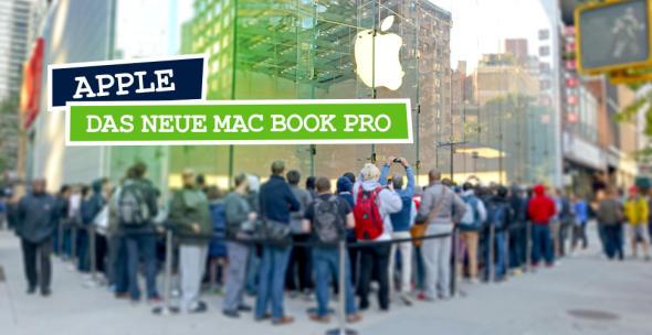 Menschenmenge vor einem Apple-Store mit Apple-Logo