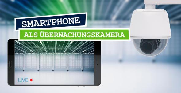 Eine Montage aus einer Überwachungskamera und einem Smartphone.