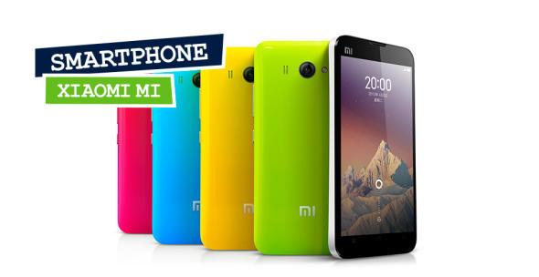 Rückseite von Xiaomi-Mi-Smartphones mit unterschiedlich farbiger Rückseite.