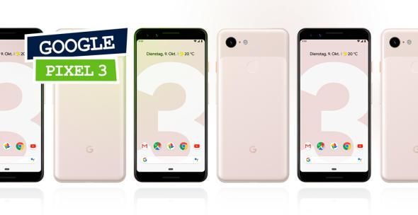 Ein Bild von mehreren Modellen des Google Pixel 3