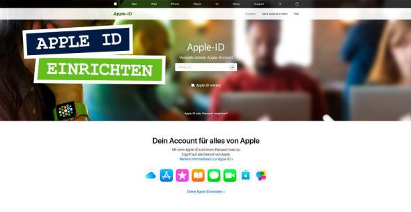 Screenshot zum Bereich für das Anlegen der Apple ID.