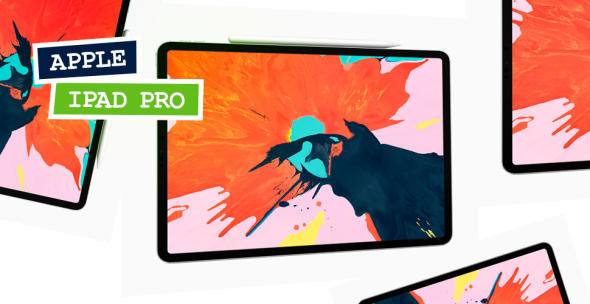 Mehrere Geräte des neuen iPad Pro mit farblichem Desktop.