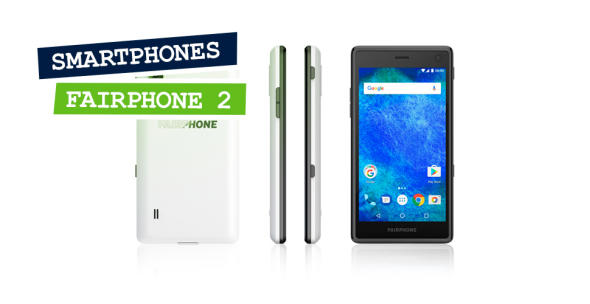 Das Fairphone 2 aus verschiedenen Perspektiven.