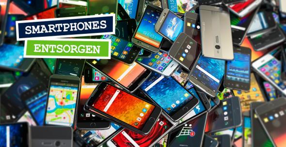 """Symbolbild zum Beitrag """"Handys entsorgen"""" mit einer großen Zahl alter, nicht funktionsfähiger Smartphones."""