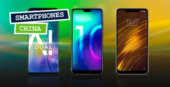 Huawei, Xiaomi und OnePlus Smartphones von chinesischen Herstellern vor farbigem Hintergrund.