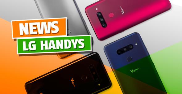 Mehrere mehrfarbige LG-Handys mit der Rückseite nach oben fotografiert.
