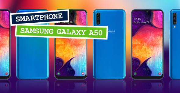 Die Vorder- und Rückseite des Samsung Galaxy A50.