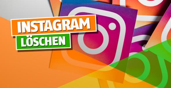 Logos der App Instagram auf einem Haufen.