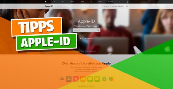 Die startseite der Apple-ID-Website.