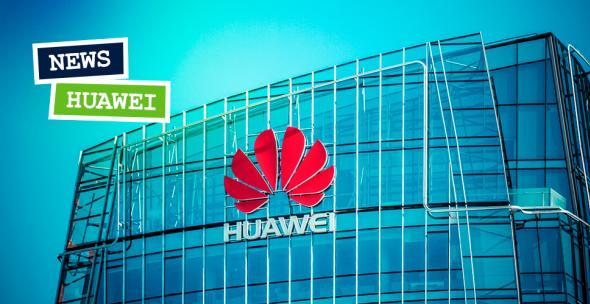 Das Huawei-Logo an einem Unternehmensgebäude.