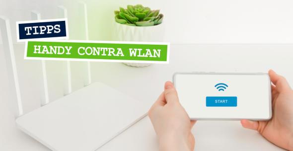 WLAN-Router und ein Handy auf dessen Display das WLAN-Symbol zu sehen ist.