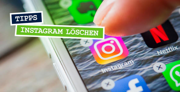 Nahaufnahme eines Smartphone-Displays mit Instagram-Symbol